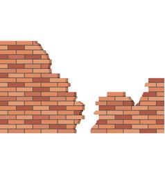 Broken brick wall 3d view brick stone wall ruined vector