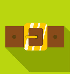 Brown leather belt with gold square buckle icon vector
