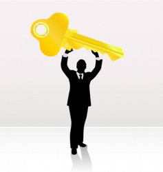 businessman lifting key vector image