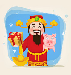 Caishen god wealth chinese new year 2019 cartoon vector