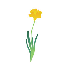 Cartoon abstract yellow flower tulip icon vector