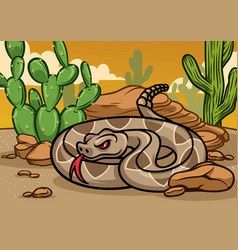 Cartoon rattle snake vector