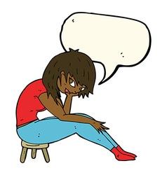 Cartoon woman sitting on small stool with speech vector