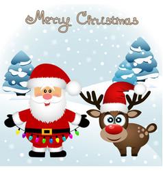 christmas card funny postcard with santa claus vector image