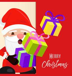 christmas greeting card cute holiday santa claus vector image