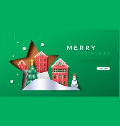 Christmas web template papercut winter city vector