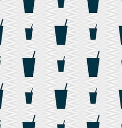 cocktail icon sign Seamless pattern with geometric vector image