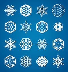 Collection of 16 white snowflakes on blue vector