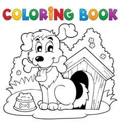 Coloring book dog theme 1 vector