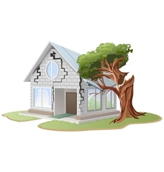 Crack in brick wall of house Tree fell on house vector image