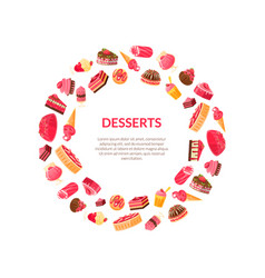 delicious desserts round frame confectionery vector image