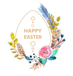 Easter watercolor natural with egg sticker vector