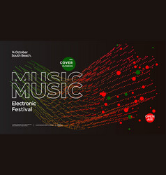 Electro music fest poster with abstract particle vector