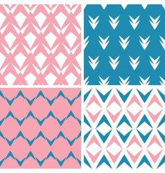 Four abstract pink blue arrows geometric pink vector