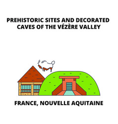 france nouvelle aquitaine - prehistoric sites and vector image