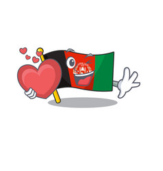 Funny face flag afghanistan scroll cartoon vector