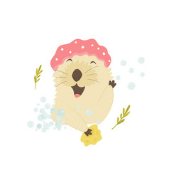 Funny otter in a shower cap taking shower vector