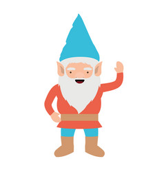 gnome with colorful costume and gesture of vector image