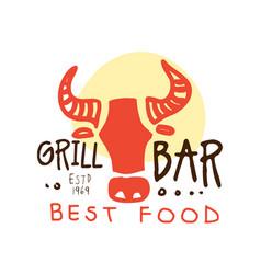 grill bar best food logo estd 1969 template hand vector image