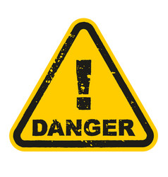 grunge danger sign isolated on white background vector image
