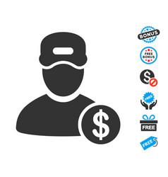 Guy salary icon with free bonus vector
