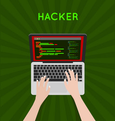 Hacker coding bug on laptop icon vector