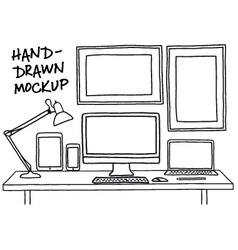hand-drawn studio mockup with computer vector image