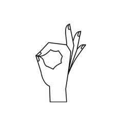 Hand outline sign ok vector