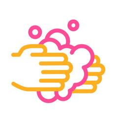 hands wash liquid soap icon outline vector image