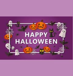happy halloween banner design with paper cut vector image
