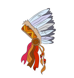 hat with feathers of indian vector image