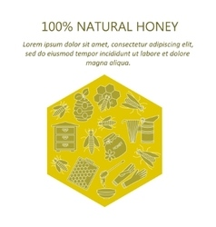 Honey card with thin line icons vector image