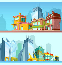 horizontal banners with urban streets and modern vector image