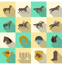 Horseback riding flat shadows icons set vector