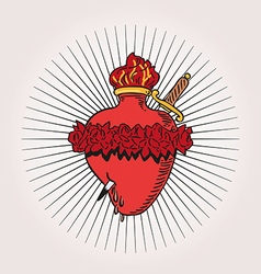 Immaculate Heart of Blessed Virgin Mary tattoo vector