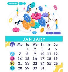 isometric calendar of 2019 teamwork concept vector image