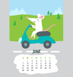 June calendar page with cute rat in travel vector