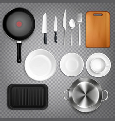kitchen utensils realistic transparent vector image