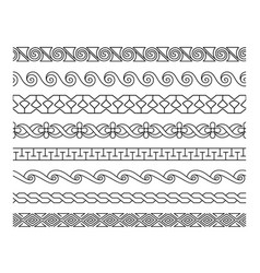 Linear lacework borders set vector