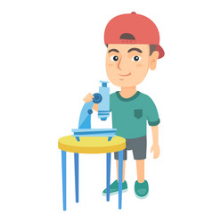 little caucasian schoolboy using a microscope vector image