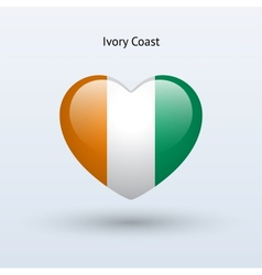 Love ivory coast symbol heart flag icon vector