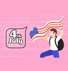 man with usa flag celebrating 4th july american vector image