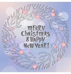 Merry Christmas and New Year with vector image