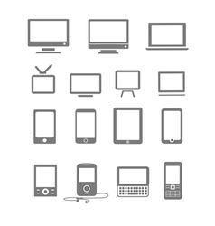 Modern and vintage mobile gadgets and monitors vector