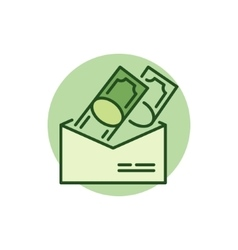 Money in envelope colorful icon vector image