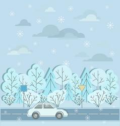 Motorway winter road car road signs and snow vector