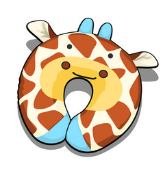 neck pillow textured giraffe isolated on white vector image