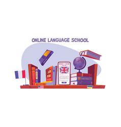 Online language school banner distance study vector