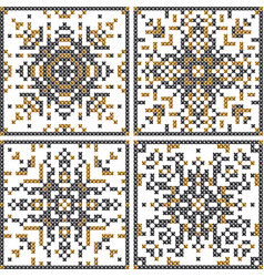 Pattern cross stitch set scandinavian patterns vector