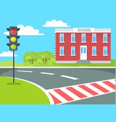Pedestrian school building traffic lights stand vector